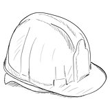 Hand-drawn constructions helmet icon. Vector EPS8