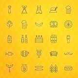 Oktoberfest Beer Thin Line Icons Set