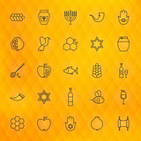 Rosh Hashanah Thin Line Icons Set