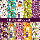 Ten Vector Flat Seamless Halloween Party Patterns Set