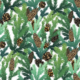 Christmas  coniferous seamless pattern