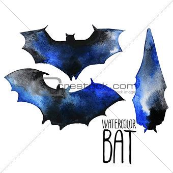 Watercolor bat silhouettes