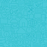 Thin Line Web and Mobile User Interface Seamless Blue Pattern