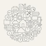 Universal Web and Mobile User Interface Line Icons Set Circular
