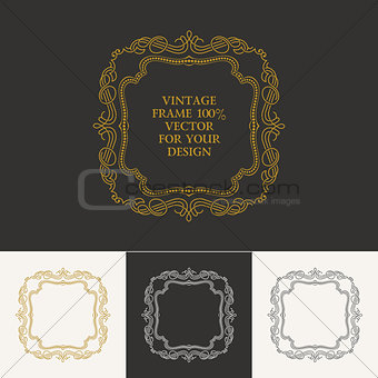 Calligraphic frame and page decoration. Vector vintage