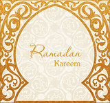 Ramadan Kareem, greeting vector background. Arch Muslim mosque