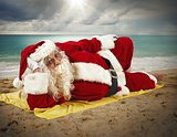 Beach holiday of Santa Claus