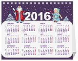 Russian Santa Claus and Snow Maiden. Calendar for 2016