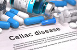 Celiac Disease Diagnosis. Medical Concept. Composition of Medica.