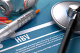 HBV. Medical Concept on Blue Background.