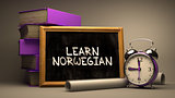 Learn Norwegian - Chalkboard with Hand Drawn Text.