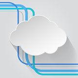 Cloud icon with wire