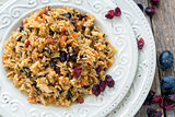Vegetarian pilaf from a mixture of wild and white rice.