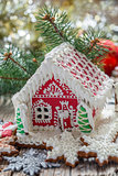 Painted gingerbread house.