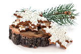 Gingerbread cookie in the form snowflakes.