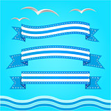 Vector banner set. Ribbons collection.