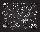 Vector scribble chalk heart icons set