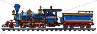 Classic blue american steam locomotive