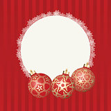 Text frame with white snowflakes border and three different Christmas balls with gold design. Vector Christmas card