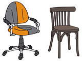 Modern and vintage office chairs