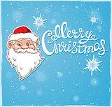 Santa Claus and greeting inscription.