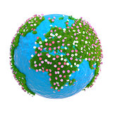 Planet with continents of green grass and flowers