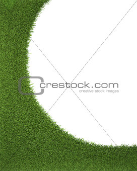 Frame made of green grass isolated on white background