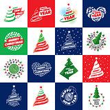 set of logos for Christmas