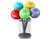 3d color bubbles with Social media and networking concept.