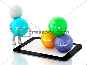 3d White people with tablet pc and social media bubbles