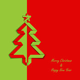 Christmas card with folded green red paper tree template