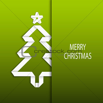 Christmas card with folded white paper tree on a green background