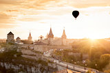 Castle in Kamianets Podilskyi and  air balloon