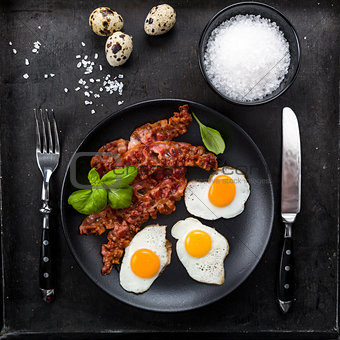 Bacon and quail eggs