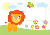 A simple illustration of a cartoon baby lion