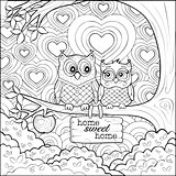 Cute Owls - Simple Coloring Page for Art Therapy Adult Coloring Book