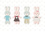 A set of four beautiful baby rabbit illustrations