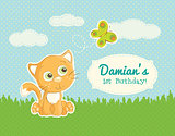 Cute little kitten and a butterfly -Birthday Announcement