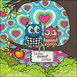 Cute Owls - Colored Version of The Art Therapy Adult Coloring Book