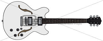 Old white electric guitar
