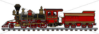 Classic red american steam locomotive