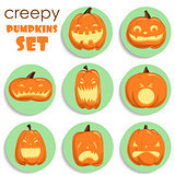 Pumpkin sticker. Halloween set.