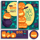 Halloween cards. Pumpkins, ghosts, bats.