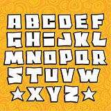 graffiti fonts alphabet with shadow on orange background