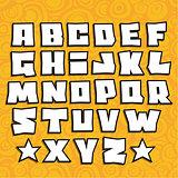 graffiti fonts alphabet with shadow on orange background