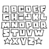 readable graffiti fonts alphabet with shadow on white