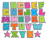 graffiti color fonts alphabet with shadow on white