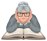 Grandmother reading book. Old woman in glasses placed his hands on an open book