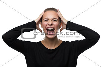 Portrait of stressed woman on white background