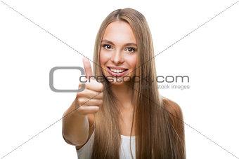 Portrait of beautiful woman show thumb up